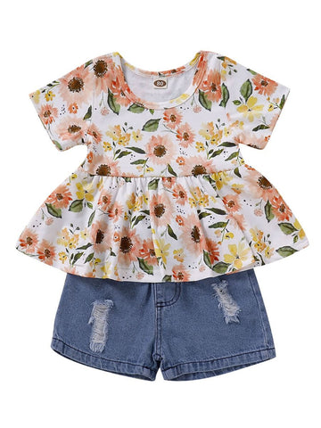Baby Toddler Girl Flower Tunic With Denim Shorts