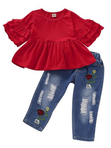 Baby Toddler Girl Tunic With Flower Ripped Jeans