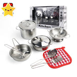 Pretend Play Steel Kitchen Set Girls Toys - Cooking Pot, Pan