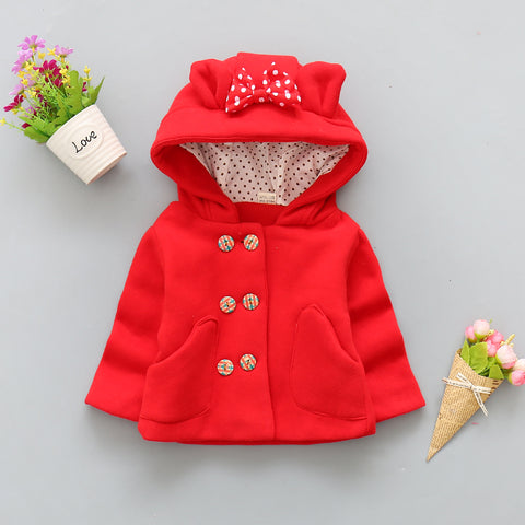 Infants & Toddler Girls Hooded Woolen Coat