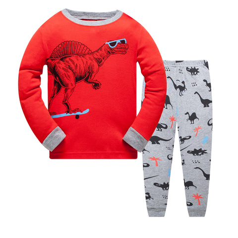 100% Cotton Kids Dinosaur Red Pajama Set