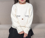 Little Girls 100% Cotton White Pullover Sweater