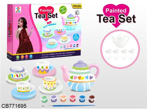Pretend Play Ceramic Painting Tea Set DIY Toy for 3+ Ages