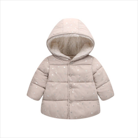 Hooded Puffed Glittery Jacket for Toddlers