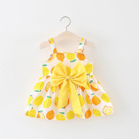 Infant & Toddler Girls Holiday Summer Lemon Cotton Cool Dress