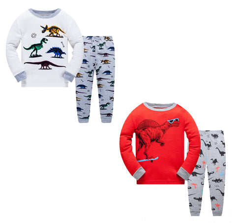 100% Cottons Kids Pajama Set 2 Pack - Dinosaur