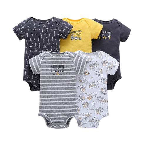 FirstYawn Eco-Friendly 5-pack baby bodysuits - Blue Gray Pattern