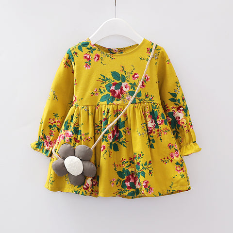 Infant & Toddler Girls Cute Yellow Floral Knee Length Dress