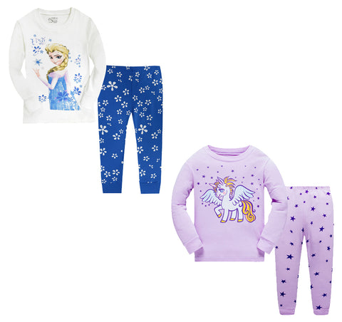 100% Cottons Kids Pajama Set 2 Pack - Blue & Purple