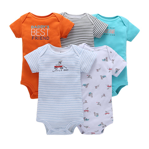 FirstYawn Eco-Friendly 5-pack baby bodysuits - Colorful Pattern