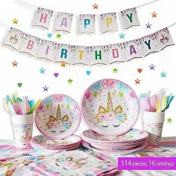Eco-friendly Unicorn Party Supplies Tableware Set Serves 16,114 Piece for Birthday Party
