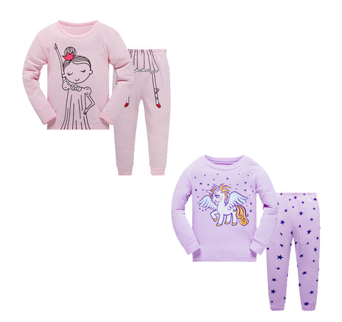 100% Cottons Kids Pajama Set 2 Pack - Pink & Purple