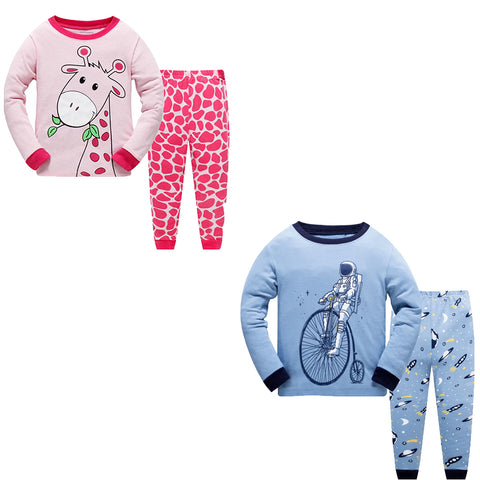 100% Cottons Kids Pajama Set 2 Pack - Red & Blue