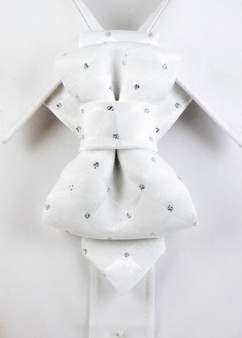 WHITE GROOM Bow Tie, Tie for wedding suite WHITE DIAMOND hopper tie Bow tie, wedding tie