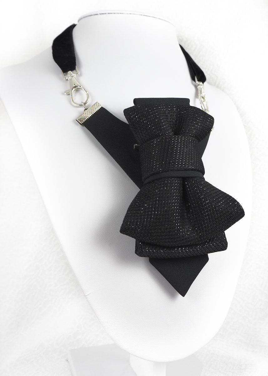 BLACK GLOW - Ruty design, Tie for wedding, Hopper tie - original patented hand made vertical bow tie