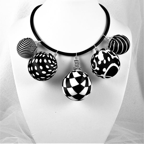 Bow Tie, Tie for wedding suite BLACK AND WHITE hopper tie BUBBLE BEAD NECKLACE