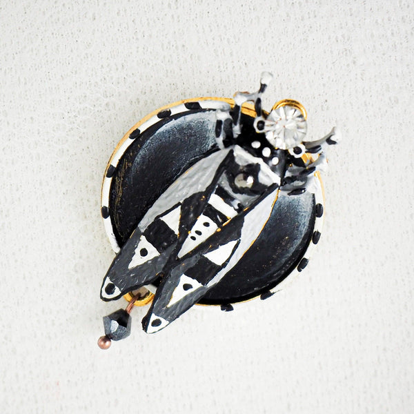 BROOCH BLACK & WHITE CICADE created by painter Marijus Piekuras