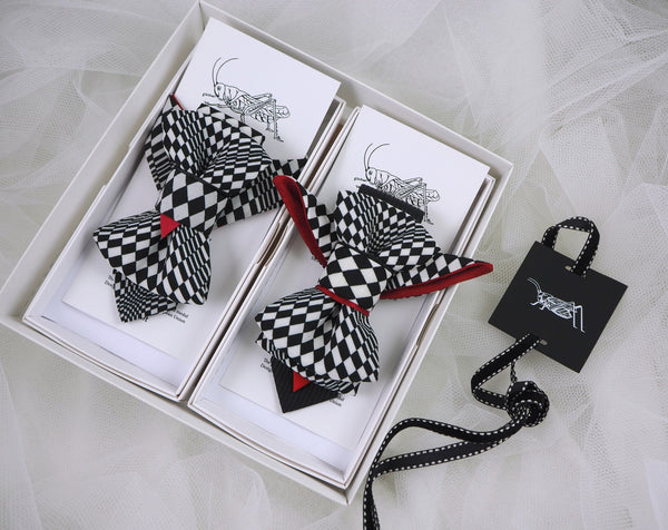 HOPPER TIE THE CHESS PLAYER SET BOW TIE, Ruty design tie, Vertical bow tie