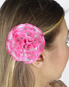 Ruffled Ribbon  Round Hair Clip
