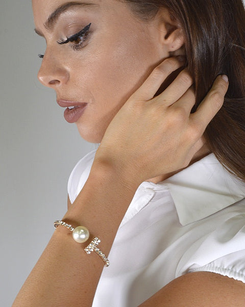Crystal and Pearl Cuff Bracelet