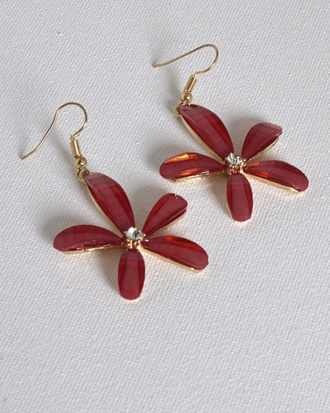 Floral Pattern Drop Earrings with Fishhook
