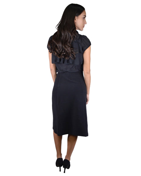 Solid Knee-Length A-Line Skirt