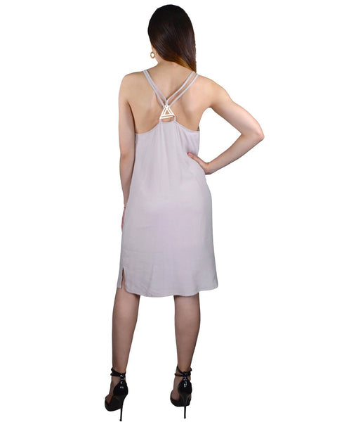 Spaghetti Strap Hourglass Neckline Stylish Back Short Dress