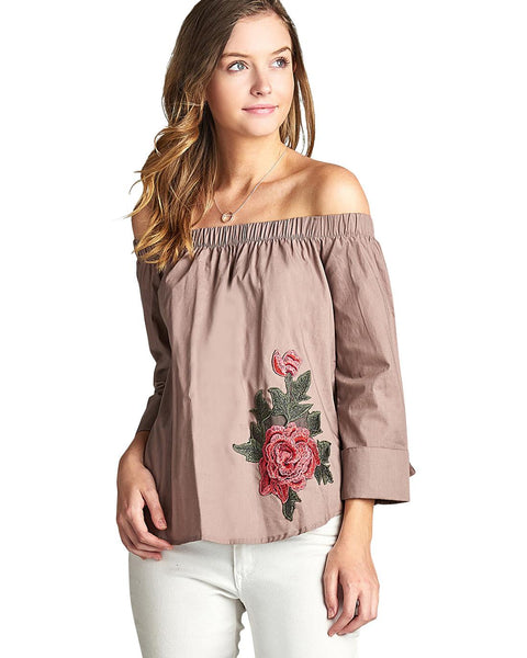 Flower applique relaxed fit top