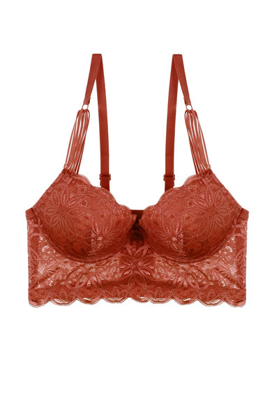Ladies floral lace trim bra w/underwire