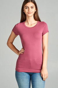 Ladies fashion short sleeve crew neck tee w/ contrast neck inbinding