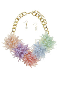 Acrylic flower statement necklace set