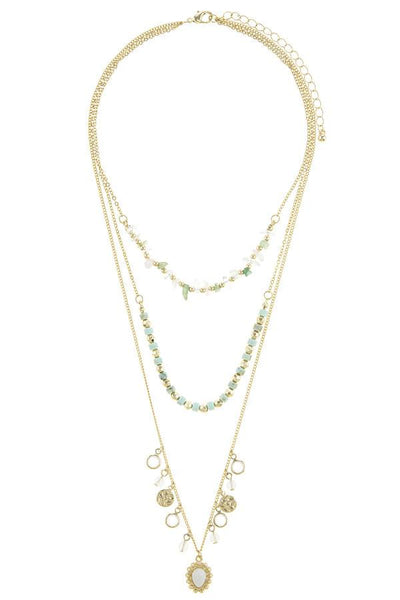 Semi precious stone bead three layer necklace
