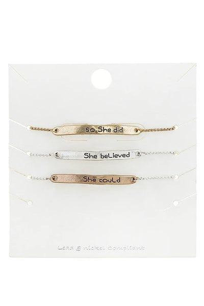 She believe she could bolo bracelet set