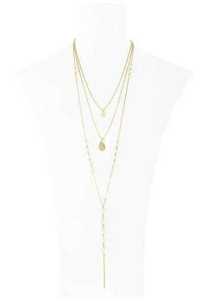 Linear bar accent faux pearl layer necklace set