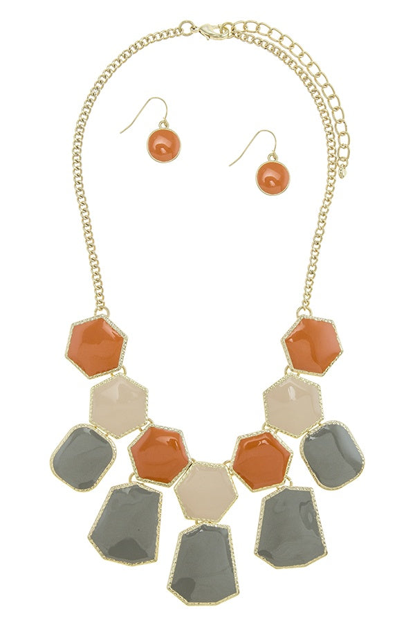 Irregular shape faux gem fringed statement necklace set