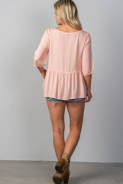 Ladies fashion 3/4 sleeve w/oring at front babydoll top