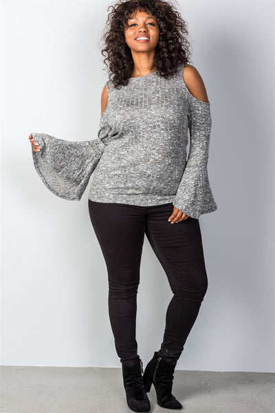 Ladies fashion plus size charcoal cold shoulder bell sleeves plus size top