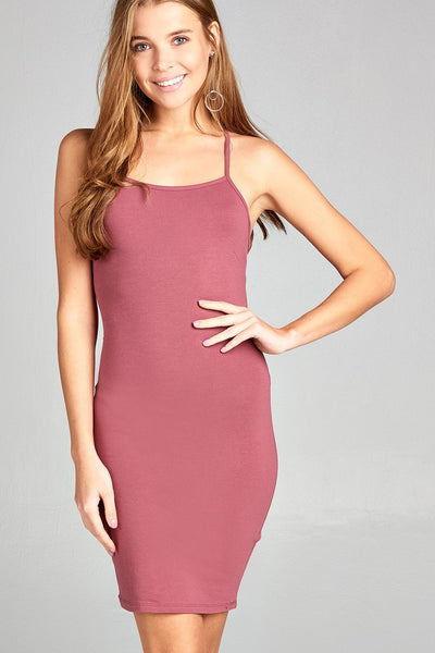 Ladies fashion low-cut scoop neckline back open w/strappy cotton spandex mini dress