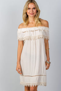 Ladies fashion boho ivory elastic off shoulder crochet trim mini dress