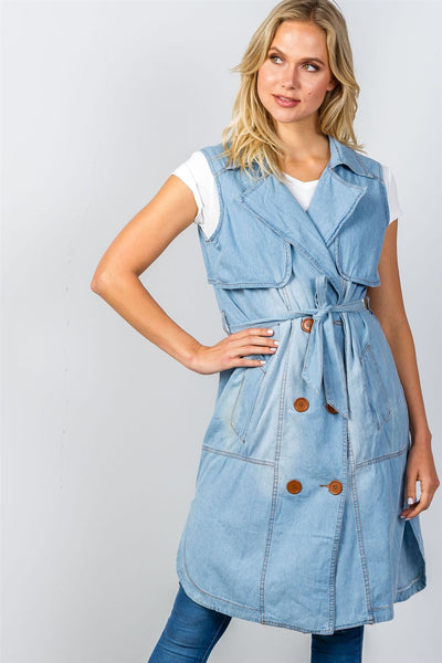 Ladies fashion denim self-tie long waistcoat