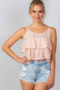 Ladies fashion double layer cropped cami top