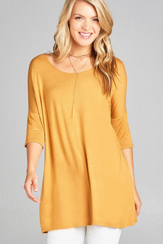 Ladies fashion band elbow sleeve round neck rayon spandex jersey tunic top