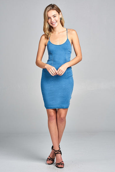 Ladies fashion low cut scoop neckline back open w/strappy denim mini dress