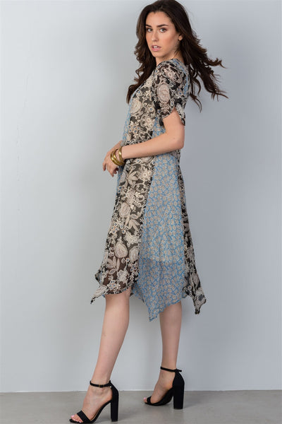 Ladies fashion bohemian mix and match floral print midi dress