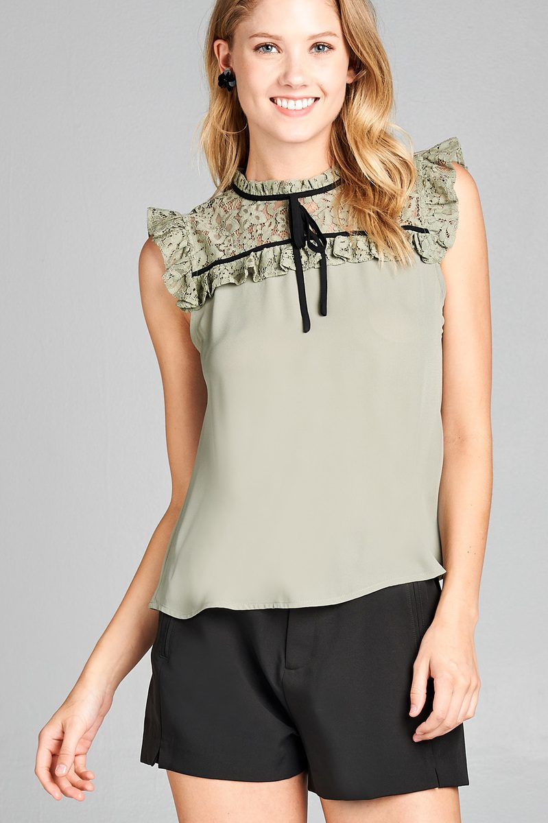 Ladies fashion ruffle sleeve lace yoke detail w/contrast self tie woven top