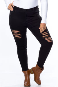 Ladies fashion plus size cotton spandex black plus size distressed skinny jeans