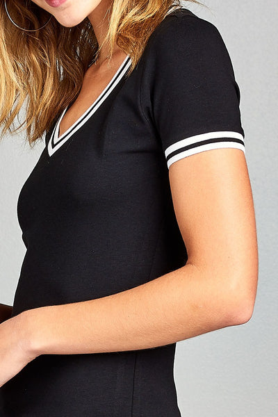Ladies fashion short contrast ribbed sleeve and collar cotton rayon spandex top