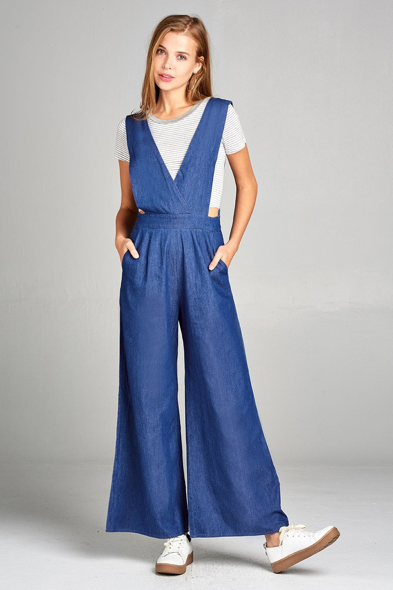 Ladies fashion v-neck cross shoulder strap long wide chambray jumpsuit