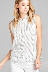 Ladies fashion sleeveless w/pocket dot print rayon challis woven top