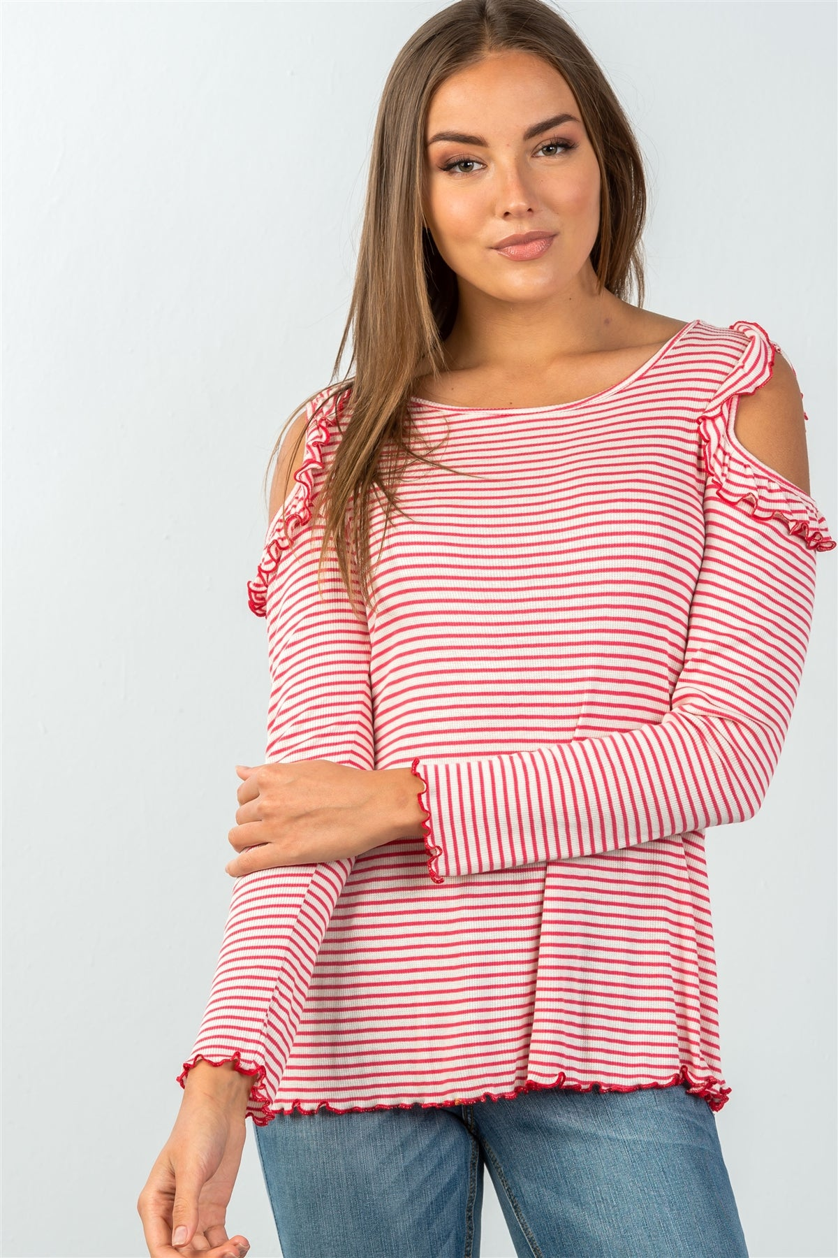 Ladies fashion long sleeve stripe ruffled cold-shoulder top